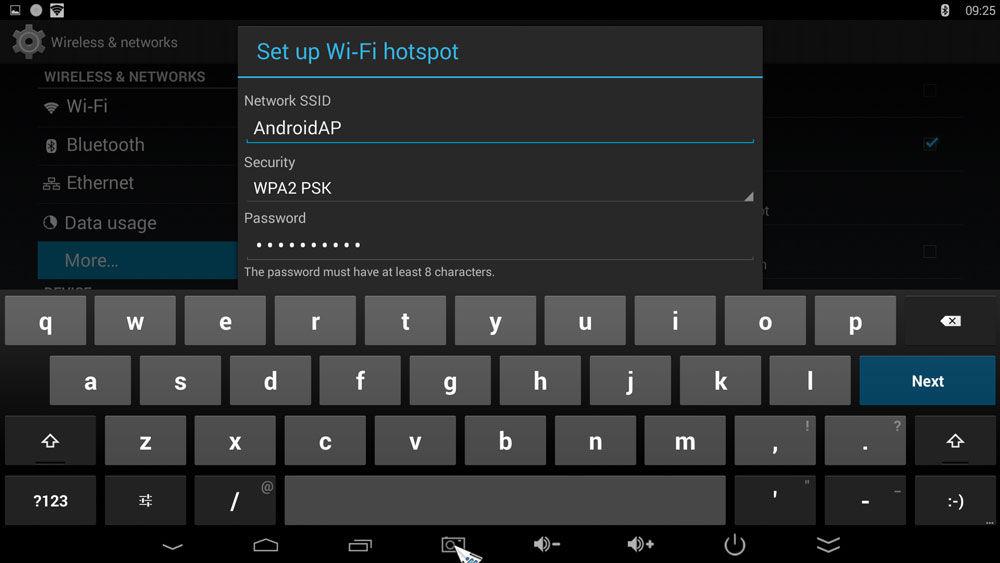 Ввод пароля доступа Wi-Fi