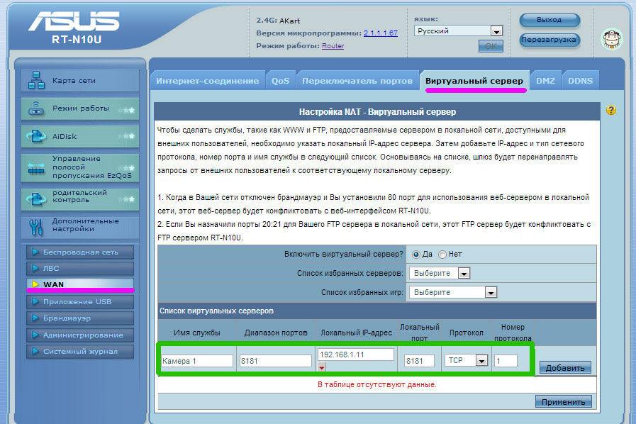 Настройка виртуального сервера
