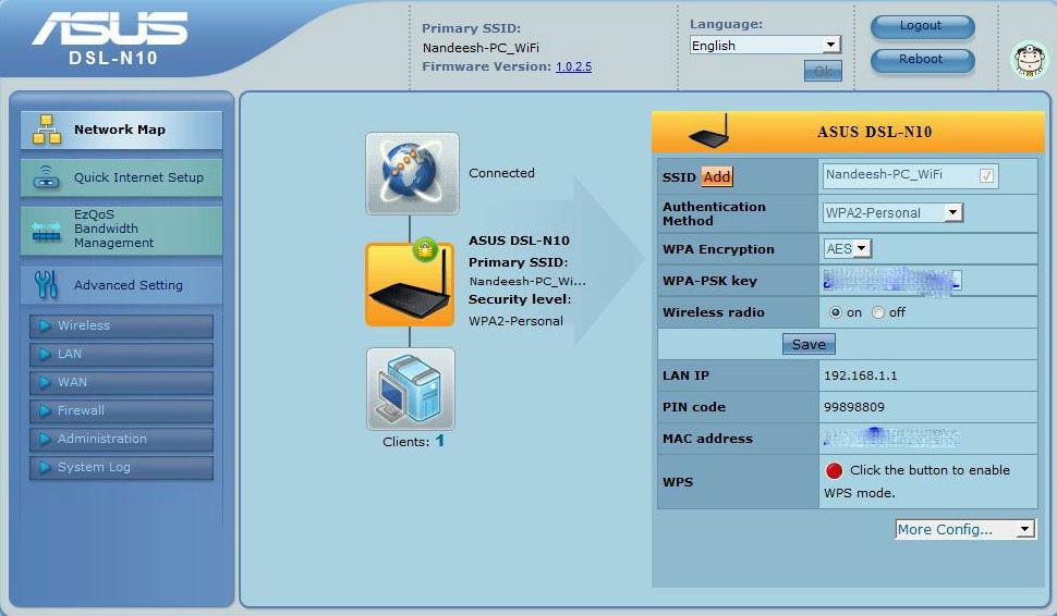 Веб-интерфейс для настройки роутера