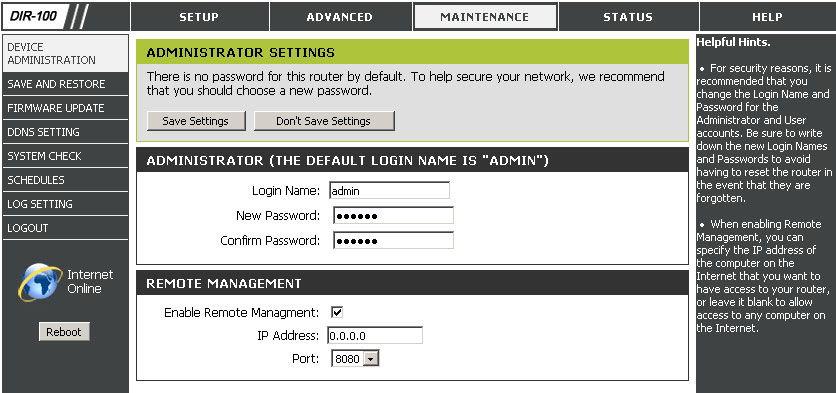 Смена пароля для веб-интерфейса