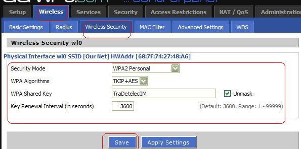 Параметры безопасности сети Wi-Fi