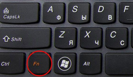 Расположение функциональной клавиши Fn
