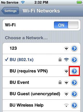 Выбор Wi-Fi сети на iPhone