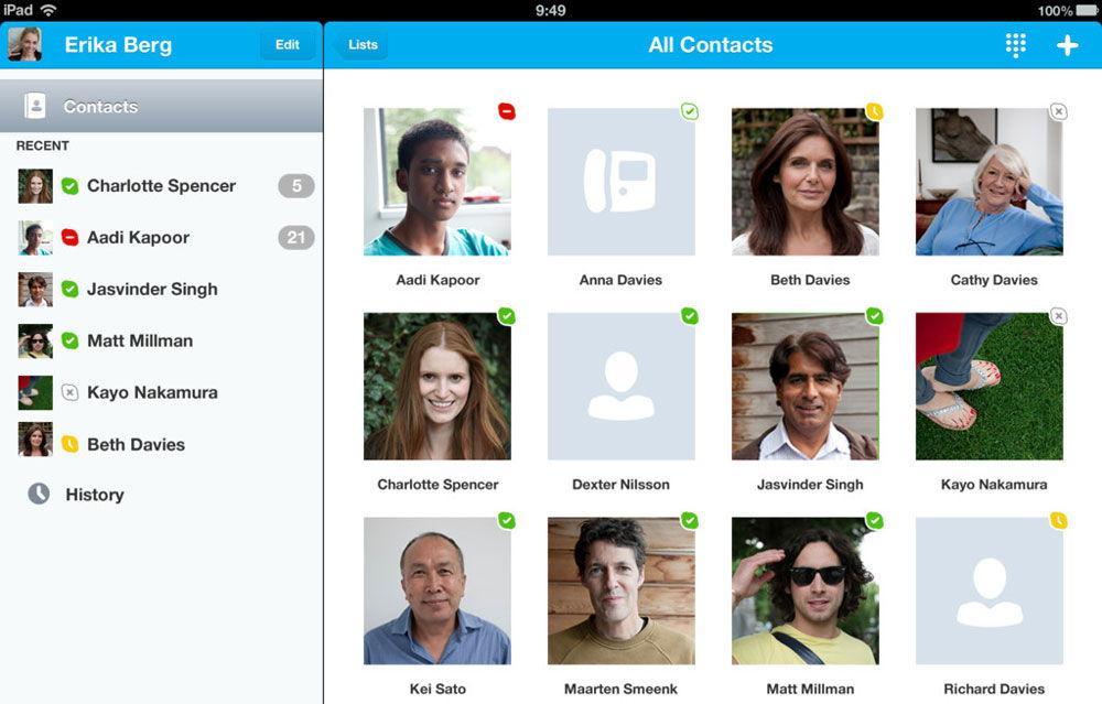 Контакты Skype на iPad
