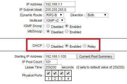 Активация DHCP-сервера на роутере