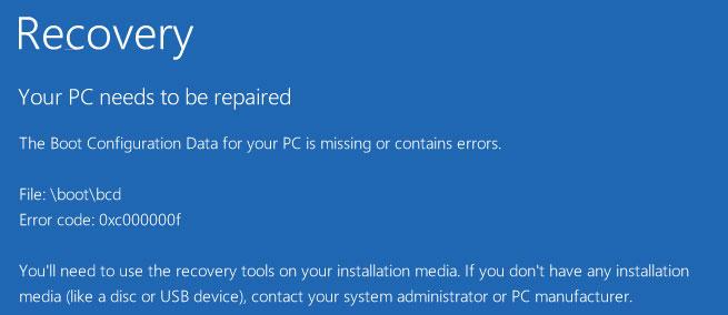 Сбой при загрузке ОС Windows