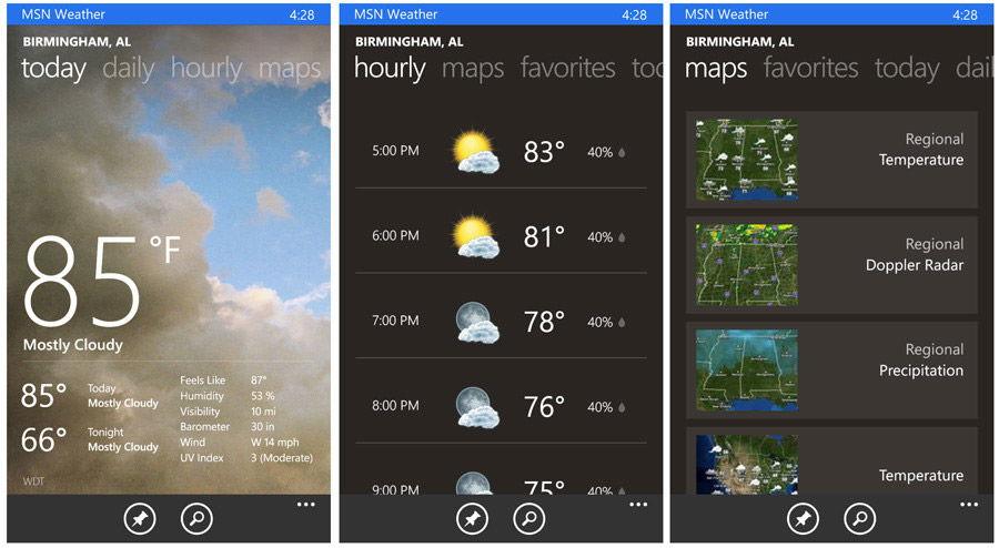 Прогноз погоды с MSN Weather