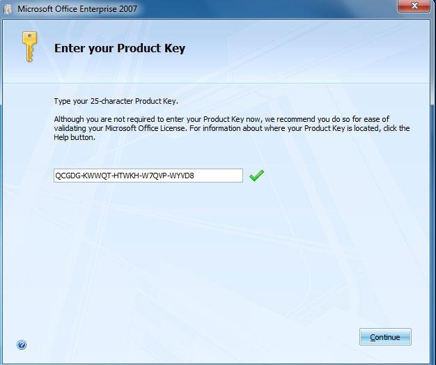 Ввод ключа при установке программы