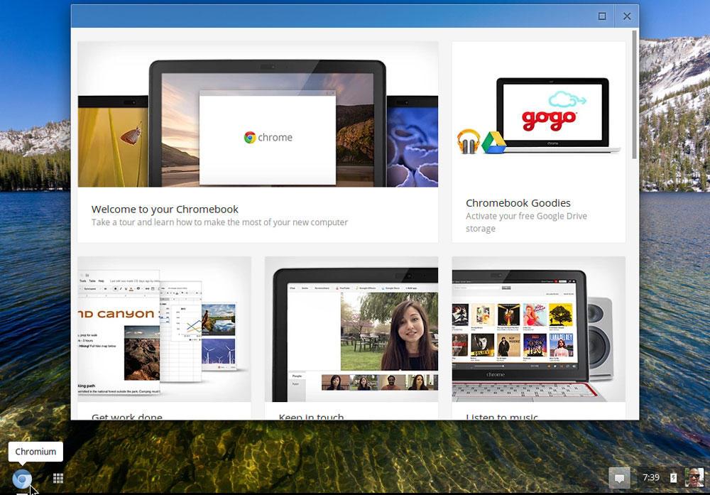 Интерфейс фирменного Chromebook