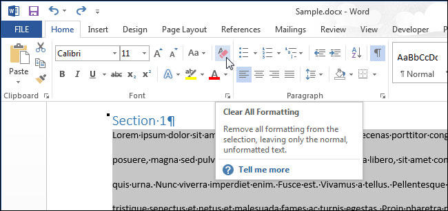 Очистка всего форматирования