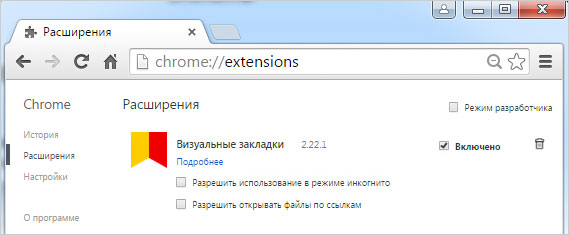 Дополнительные модули в Google Chrome