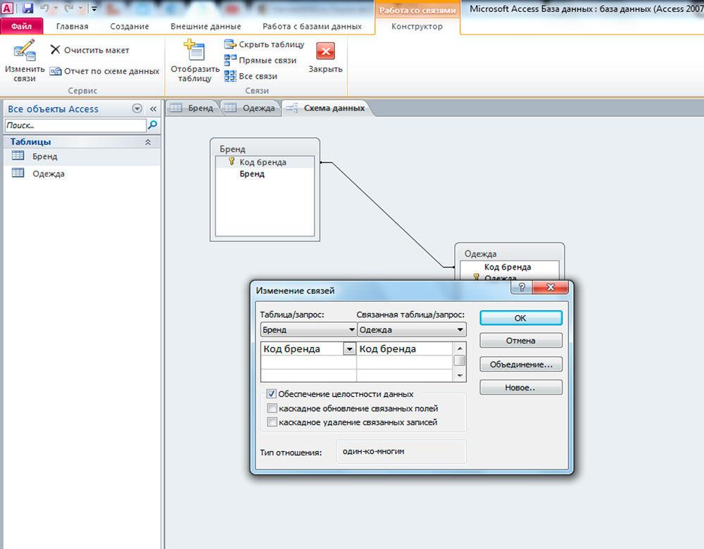 Пример связи один к одному между двумя базами данных
