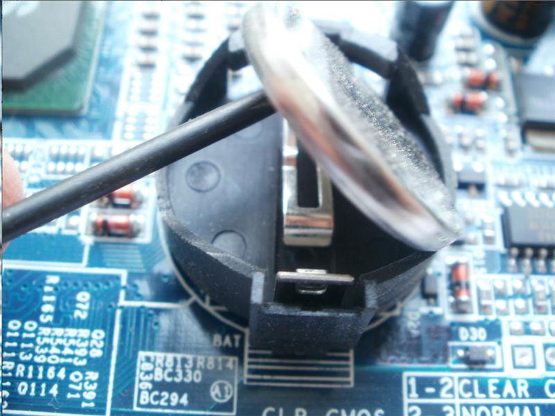 Снятие батарейки BIOS
