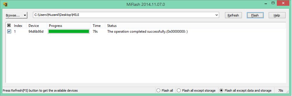MiFlash - обновить прошивку