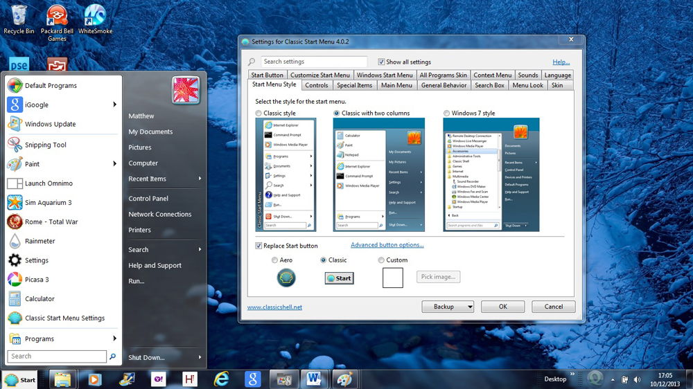 Windows 7 настройки меню Пуск