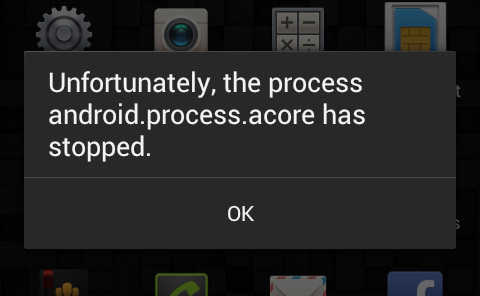Ошибка android.process.acore