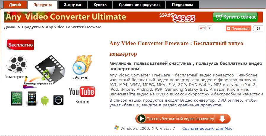 Any Video Converter Freeware