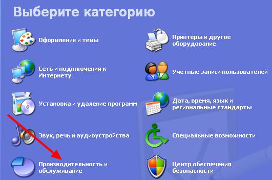 Производительность и обслуживание в Windows XP