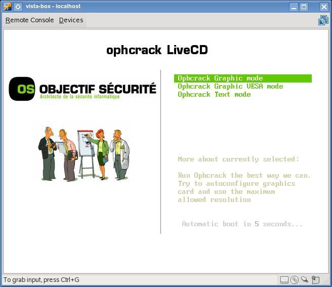 Утилита Ophcrack Windows
