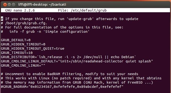 Переменная «GRUB_CMDLINE_LINUX_DEFAULT»
