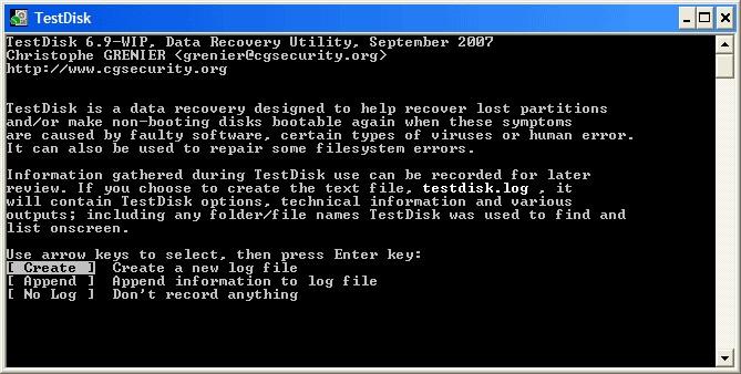 Работа программы TestDisk