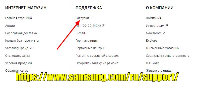 Загрузки на сайте поддержки продукции Samsung