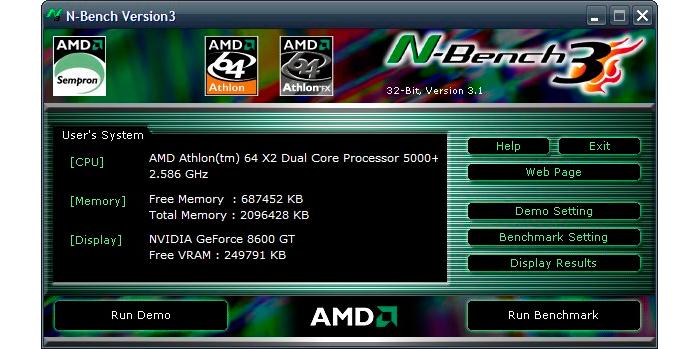 AMD N-Bench интерфейс