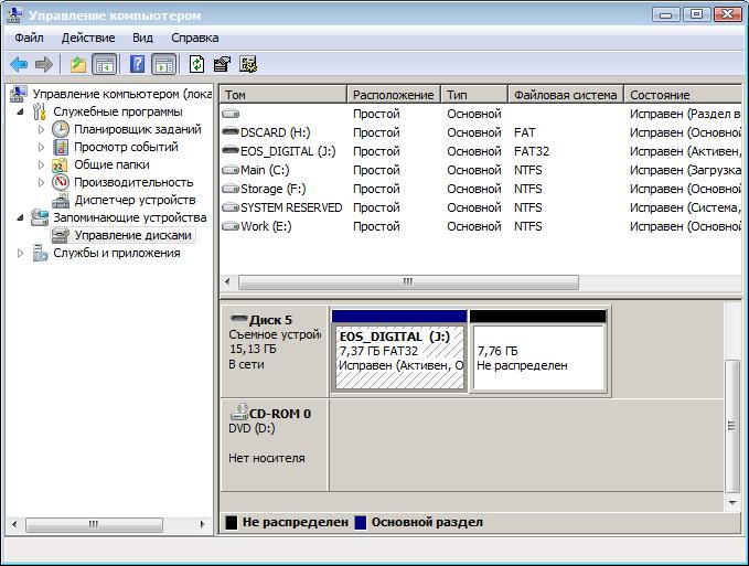 Управление дисками компьютера
