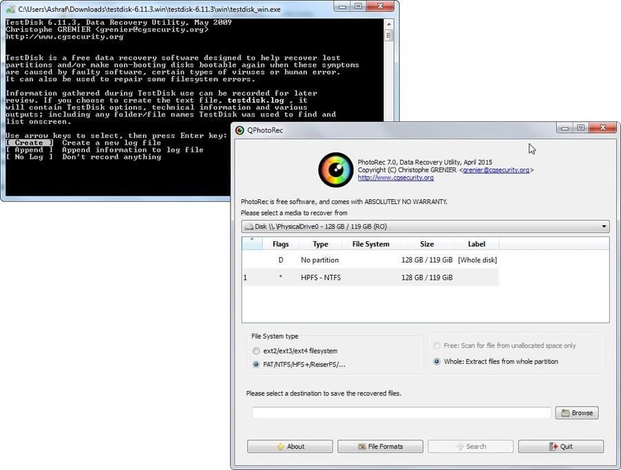 Утилита для восстановления формата диска TestDisk