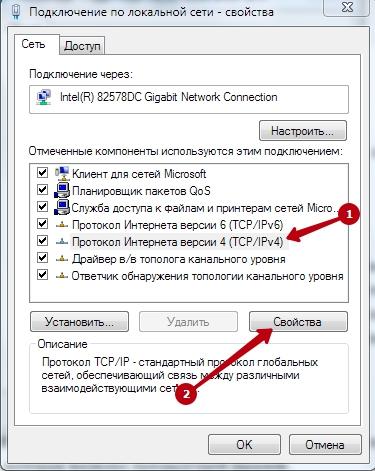 Свойства протоколаTCP/IPv4