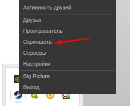 Скриншоты в программе Steam