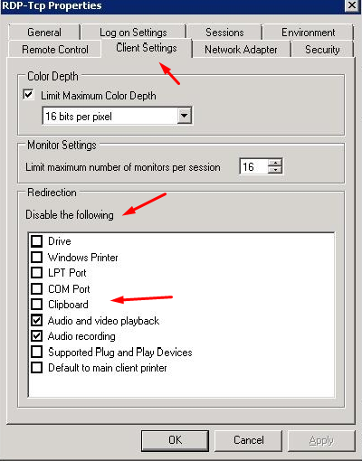 Настройки «RDP» клиента