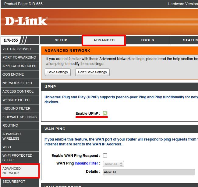 Включение UPnP на роутере D-Link