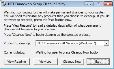 Программа .NET Framework Cleanup Tool