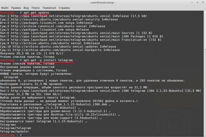 Команды sudo apt-get update sudo apt-get и install telegram