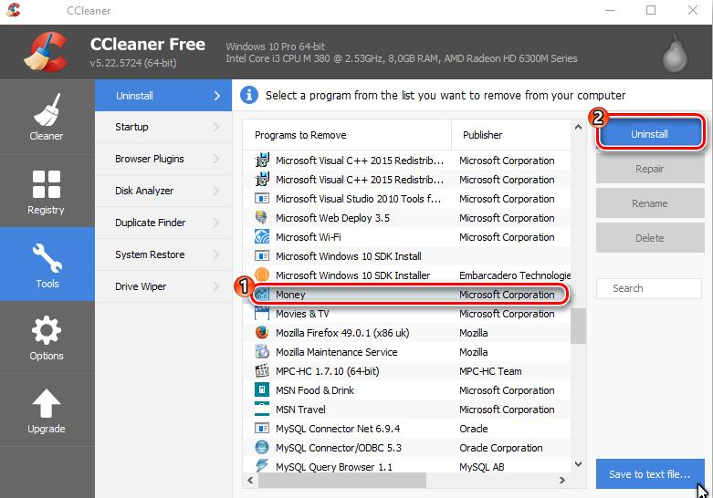 Удаление встроенного приложения в CCleaner