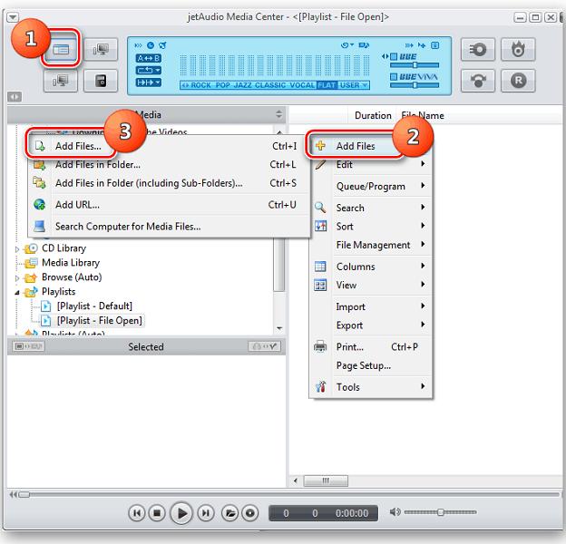 Открытие файла в программе JetAudio