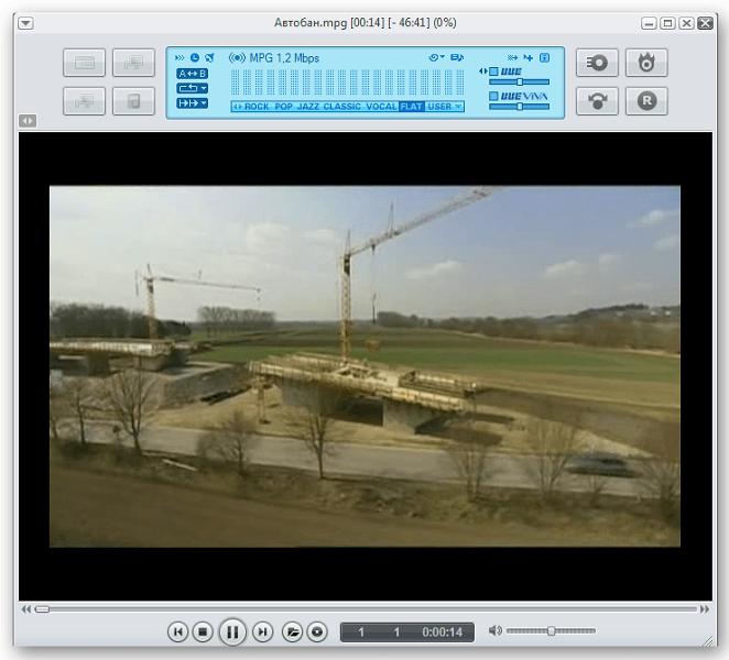 Проигрывание ролика в программе JetAudio