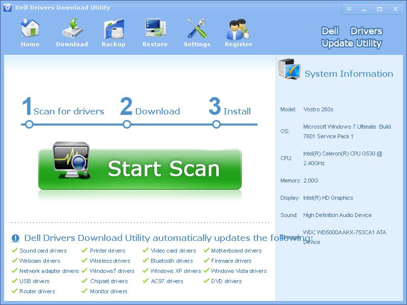 Окно программы Dell Update Utility