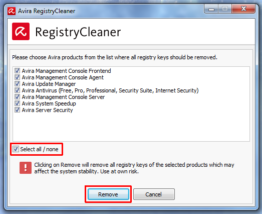 Параметры удаления в Avira Registry Cleaner