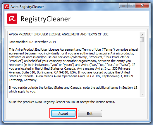 Принятия условий использования Avira Registry Cleaner