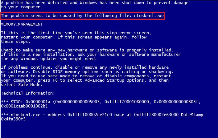 Ошибка Ntoskrnl.exe на экране