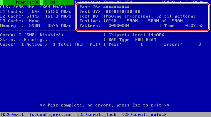 Проверка оперативной памяти в Memtest86+