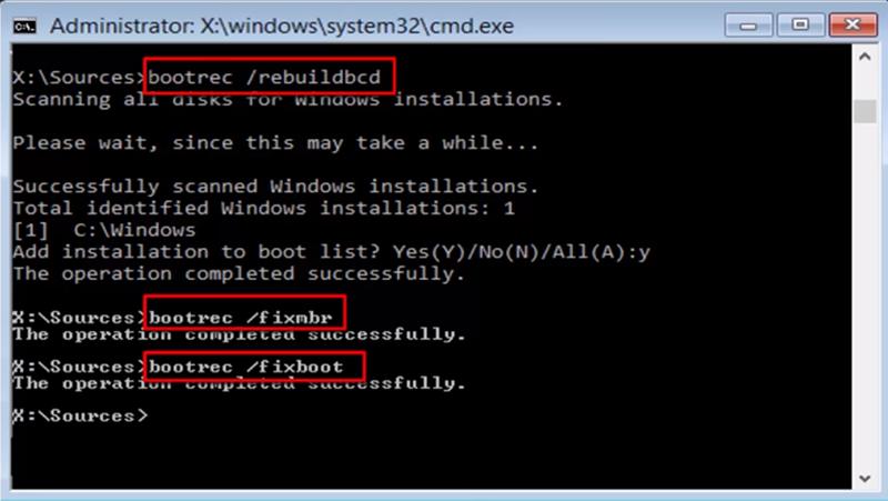 Восстановление файлов BCD