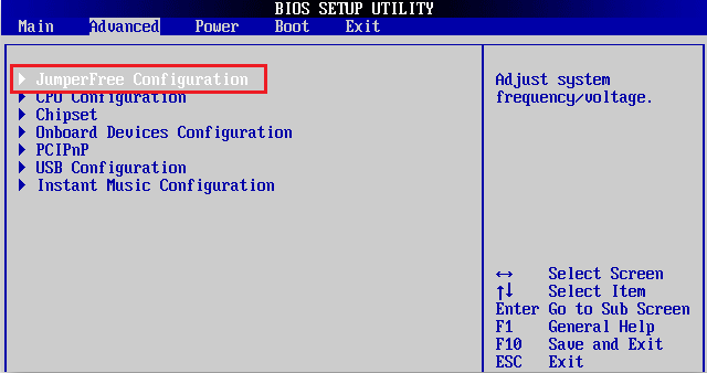 JamperFree Configuration в BIOS