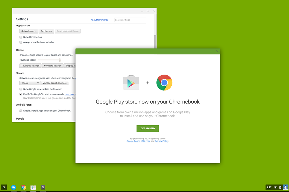 «Включить Google Play Store» на Chromebook