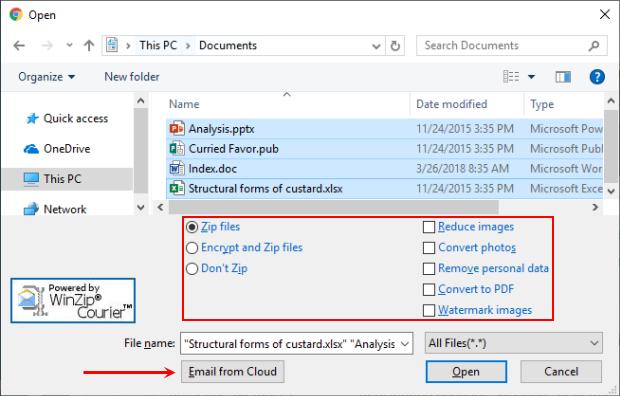 Выбор файлов для отправки