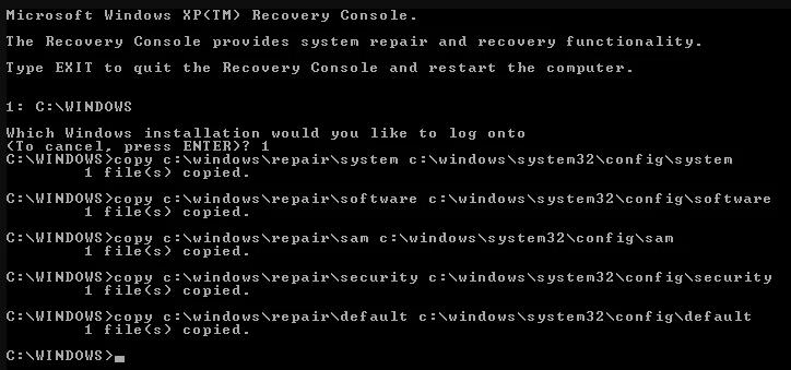 Замена всех повреждённых файлов реестра резервными копиями