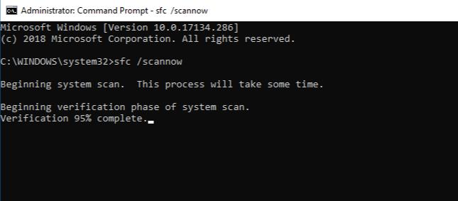 Команда sfc /scannow