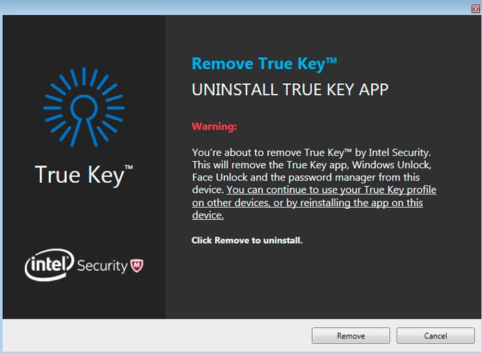 Удаление True Key